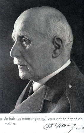 marshal: Portrait of Marshal Petain. I hate the lies That you-have done so much harm.