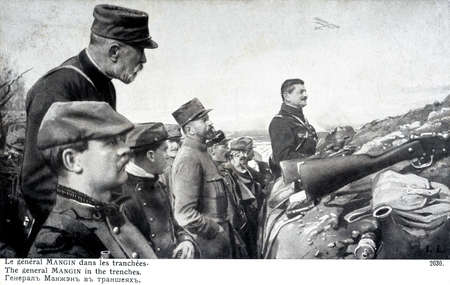 trenches: old French postcard. General Mangin in the trenches