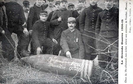 meuse: old postcard of the war of 14-380 unexploded German shells found around Verdun in the French department of Meuse