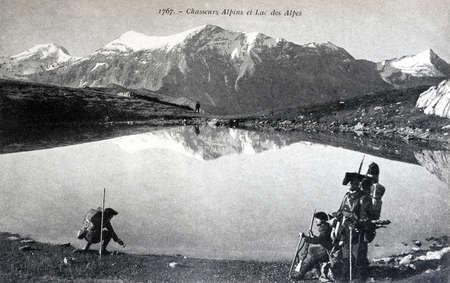 hunter's: Postcard French military train - Alpine Hunters lake and the Alps