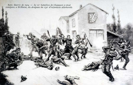 batallón: old postcard of the war 14 - The 10th battalion of foot fighters captured in Saint-Blaise the 132th German Infantry Editorial
