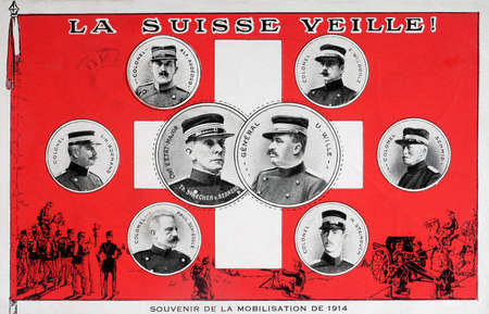 mobilization: old postcard military map Switzerland - Remembrance mobilization 1914