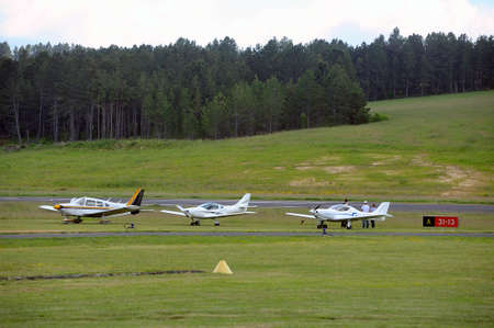 airfield: Small private planes parked on the Mende airfield in the French department of Gard