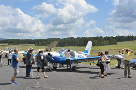 small plane: Small plane parked on the Mende airfield in the French department of Gard