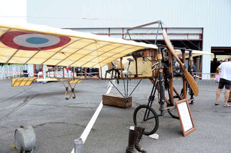 airfield: Reproduction of the Bleriot XI presentation on the airfield of Mende in the French department of Gard.