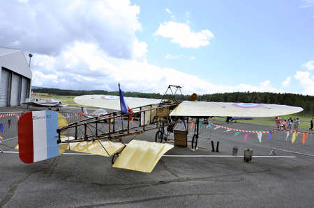 monoplane: Reproduction of the Bleriot XI presentation on the airfield of Mende in the French department of Gard.