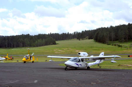 airfield: Small aircraft on the airfield of Mende in the French department of Gard.