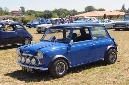 austin: An Austin mini display in a vintage car rally