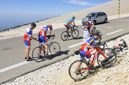 Group of cyclists go after a break on the road to the summit of Mount Ventoux