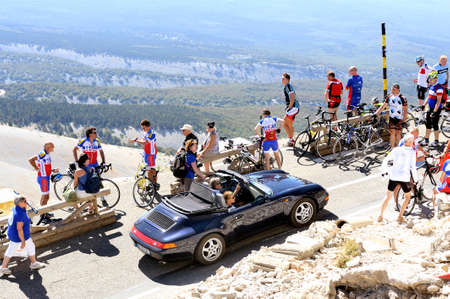 borrowed: Road Mont Ventoux amount borrowed by many cyclists and cars Editorial