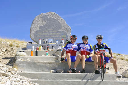 mount tom: Commemorative stela of Tom Simpson died on the Tour de France to Mont Ventoux Editorial