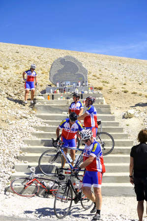 Commemorative stela of Tom Simpson died on the Tour de France to Mont Ventoux Editorial
