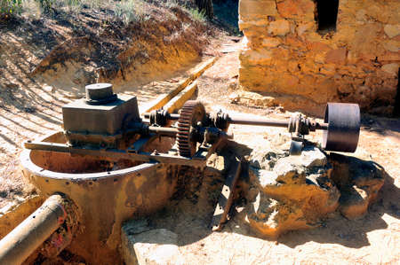 roussillon: the water valve of the Roussillon ocher factory where was treated ore to produce products such as dye for painting or various other applications. Stock Photo
