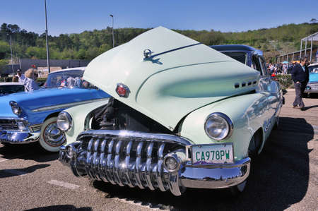 American car gathering at the mechanical pole of the town of Ales in the French department of Gard, old Buick