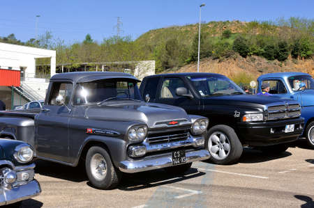 American car gathering at the mechanical pole of the town of Ales in the French department of Gard, here a Chevrolet Apache