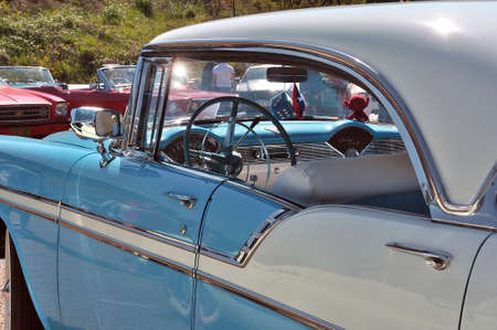 American car gathering at the mechanical pole of the town of Ales in the French department of Gard, Chevrolet Bel Air