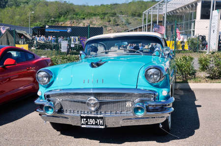 American car gathering at the mechanical pole of the town of Ales in the French department of Gard, Here an old buick