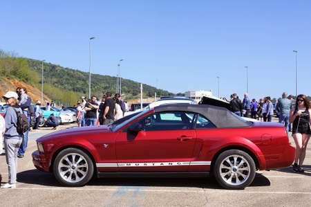 American car gathering at the mechanical pole of the town of Ales in the French department of Gard, a Ford Mustang