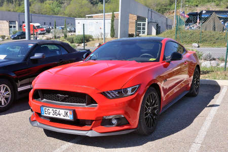 sportcar: American car gathering at the mechanical pole of the town of Ales in the French department of Gard, here a Ford Mustang