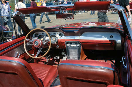 American car gathering at the mechanical pole of the town of Ales in the French department of Gard, Dashboard of a Ford Mustang convertible