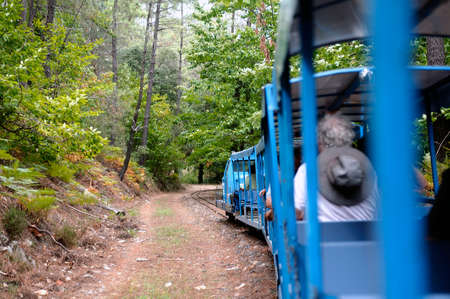 Small tourist train between Sainte Cecile dAndorge and Saint Julien des Ponts in the French department of Gard offers travelers a walk through woods.