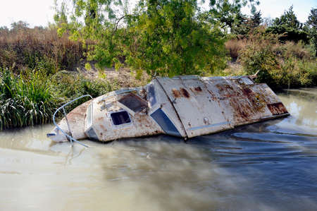 Wreck of pleasure boat on the canal du midi near Beziers