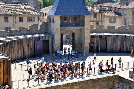 Fortified city of Carcassonne and its ramparts dating from the Middle Ages located in the French department of Aude