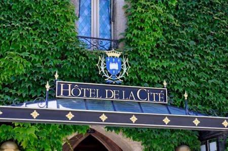 hotel in the fortified city of Carcassonne in the French department of Aude Editorial