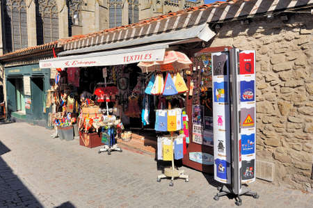 shop of tourist souvenirs in the fortified city of Carcassonne which is in the French department of Aude Editorial