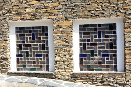 Ground floor window made of colored glass bricks Stock Photo