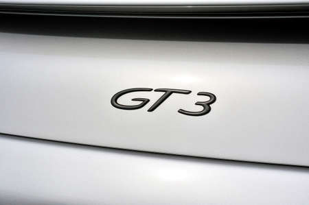 back detail on the GT3 logo of a sports car Gray porche on a parking lot of the city of Ales in the Gard department