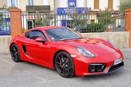 Porsche Cayman GTS sports car on a car park in the city of Ales in the Gard department