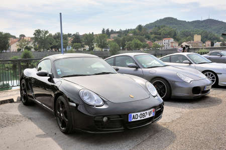 Porche sports car rally on a parking lot in the city of Ales in the Gard department Editöryel