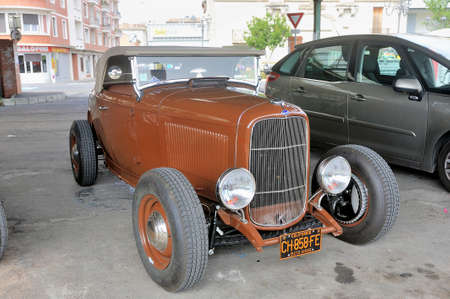 hotrod Ford 1936 with a V8 engine on a parking lot of the city of Ales in the Gard department