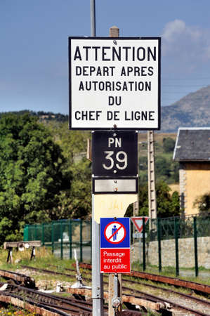 Railway sign on the line of the little yellow train that crosses the Pyrenees