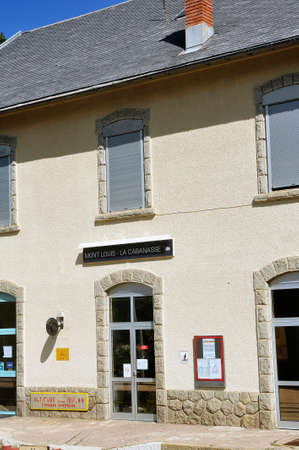 Facade of the Mont Louis train station on the line of the little yellow train of the Pyrenees at a height of 1511 meters
