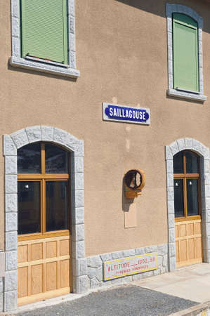 Facade of the Saillagouse train station on the line of the little yellow train of the Pyrenees