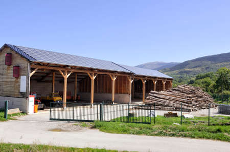 solar roof of a large surface on a municipal building of a small village in the Pyrenees