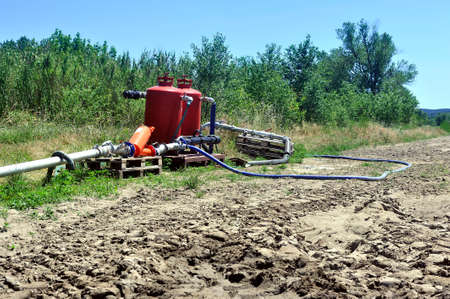 agricultural irrigation system that distributes water pumped into the river in the field