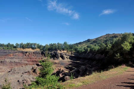 Interior of the crater of Auvergne volcano Lemptegy open to tourism with guided tour
