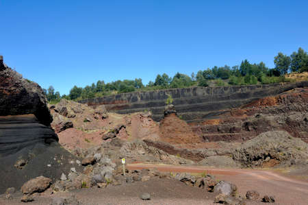 Interior of the crater of Auvergne volcano Lemptegy open to tourism with guided tour Фото со стока