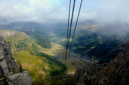 The landscape seen from the summit of Puy de Sancy at the arrival station of the cable car Stock fotó