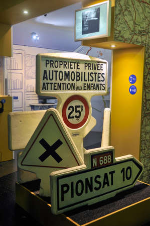 Road signs invented and produced by Michelin whose panels were made of lava stone from the Clermont-Ferrand region