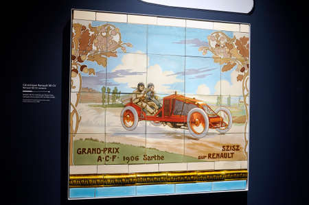 Old Michelin advertising on ceramic to extol the benefits of the tire Redactioneel