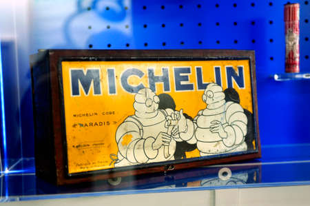Old Michelin advertising on display at the brand museum in Clermont-Ferrand