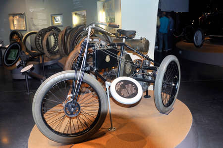 old car equipped for the first time at the time of tires exposed to the Michelin museum in Clermont-Ferrand