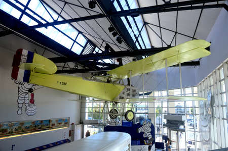 1914 biplane aircraft equipped at the time with Michelin tires on display in the hall of the brand museum Redactioneel