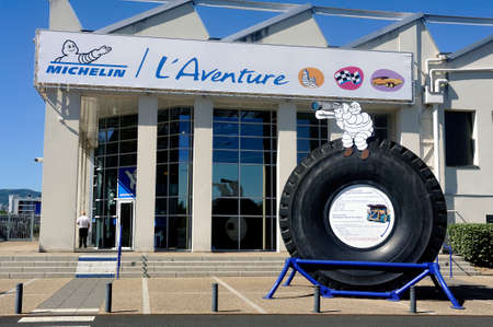 Large tire of mine engine exposed at the entrance of the Michelin Museum in Clermont-Ferrand