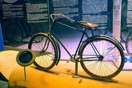Old bicycle equipped for the first time at the time of tires exposed to the Michelin museum in Clermont-Ferrand