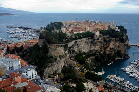 Aerial view of Monaco and its rock from the heights of the exotic garden
